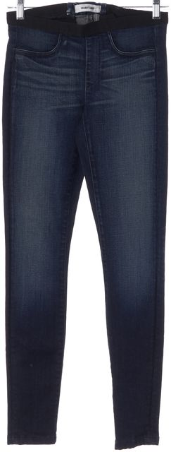 HELMUT LANG Blue Stretch Cotton Elastic Waist Skinny Jeans