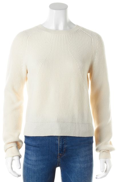 HELMUT LANG Pearl Ivory Wool Cashmere Cropped Crewneck Sweater