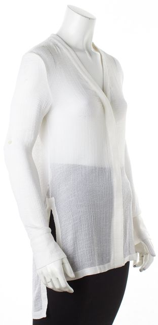 HELMUT LANG White Sheer Textured Button Down Shirt Blouse