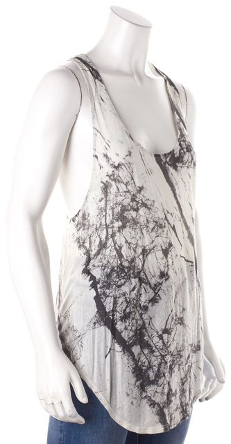 HELMUT LANG White Grey Abstract Tank Top