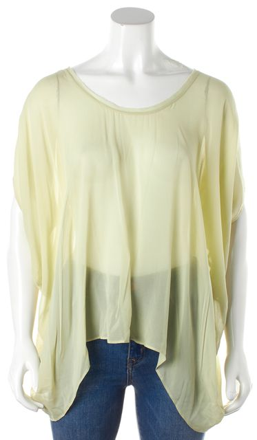 HELMUT LANG Light Green Boxed Style Cap Sleeve Silk Blouse