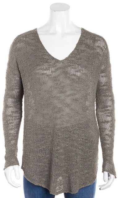 HELMUT LANG Olive Gray Scoop Neck Sweater