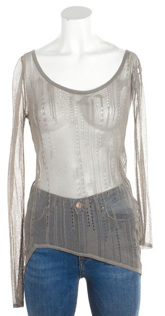 HELMUT LANG Putty Gray Sheer Knit Scoop Neck Asymmetrical Top