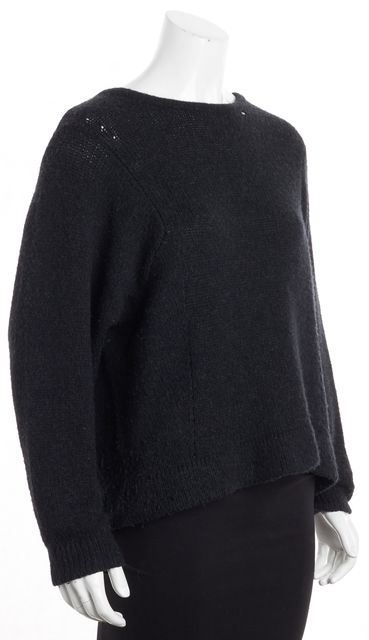 HELMUT LANG Black Wool Crewneck Cable Knit Sweater