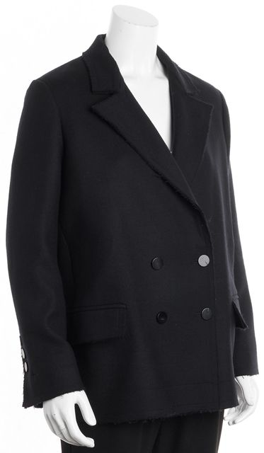 HELMUT LANG Navy Blue Wool Double Breasted Coat
