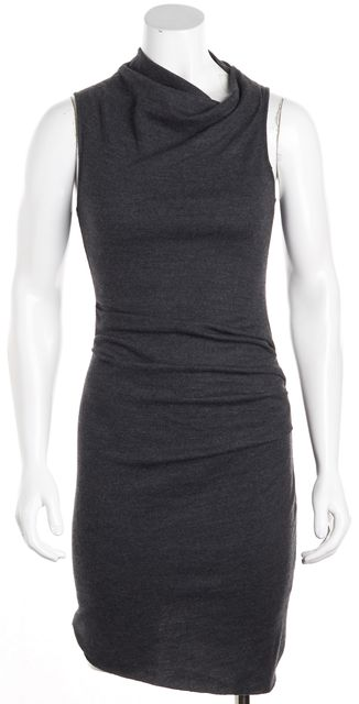 HELMUT LANG Gray Wool Ruched Droop Neck Sheath Dress