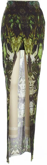 HELMUT LANG Multi-tone Green Abstract Front Slit Maxi Skirt