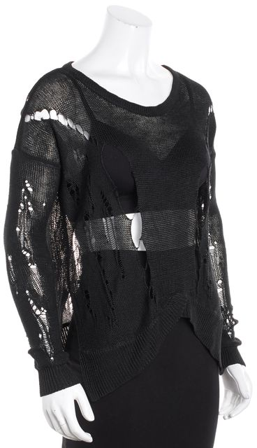 HELMUT LANG Black Long Sleeve Perforated Asymmetricl Scoop Neck Sweater