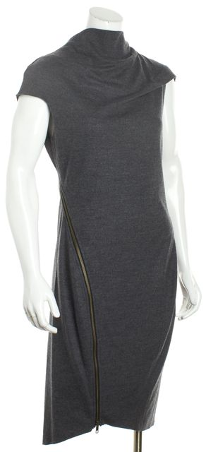 HELMUT LANG Gray Wool Asymmetrical Full Zip Close Cow Neck Bodycon Dress