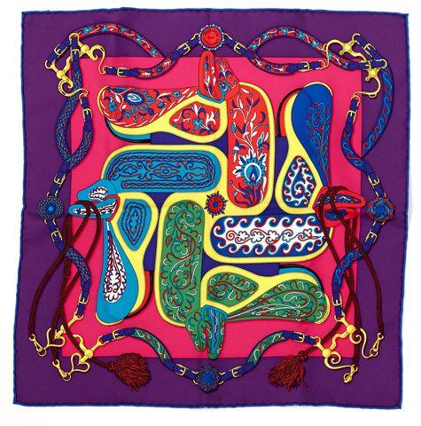 HERMÈS Multi Color Festival Des Amazones Print by Henri D'Origny Silk Scarf