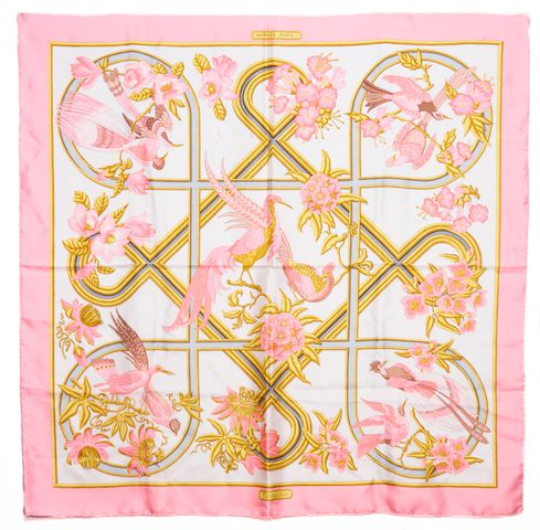 HERMÈS Pink White Silk Caraibes By Christine Vauzelles Large Square Scarf