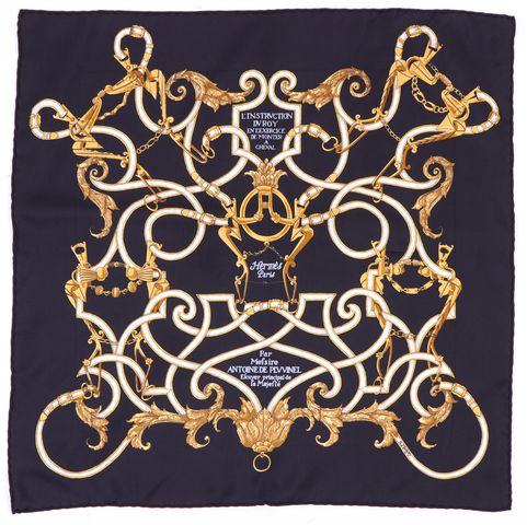 HERMÈS HERMÈS Black Gold White L'Instrvction DV Roy by Henri d'Origny Silk Scarf