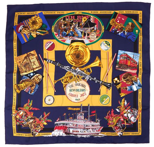HERMÈS Navy The Original New Orleans Creole Jazz Loic Dubigeon Print Silk Scarf
