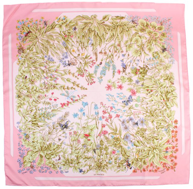 HERMÈS Pink Multi Color La Prairie by Antoine De Jacquelot Silk Scarf W/ Box