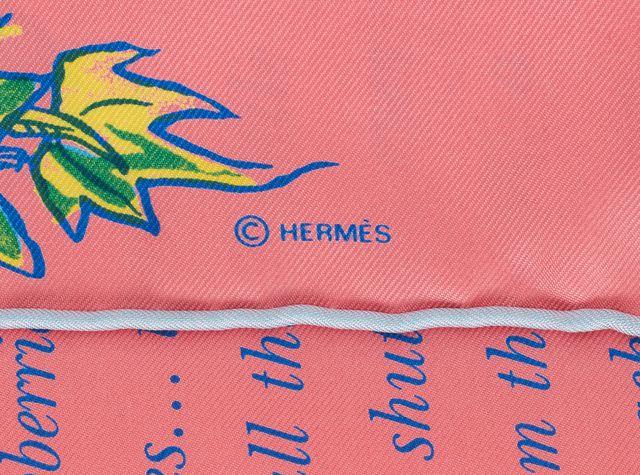 HERMÈS HERMÈS Pink Green Silk L'Ete De Loula By Ester Henwood Small Square Scarf