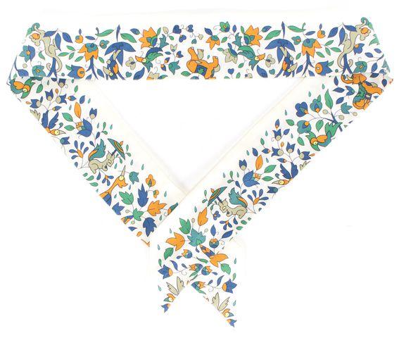 HERMÈS HERMÈS White Green Blue Orange Animal Print Silk Scarf