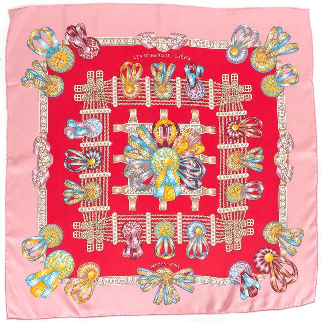 "HERMÈS HERMÈS Red Pink Silk ""Les Rubans du Cheval"" by J. Metz Scarf"
