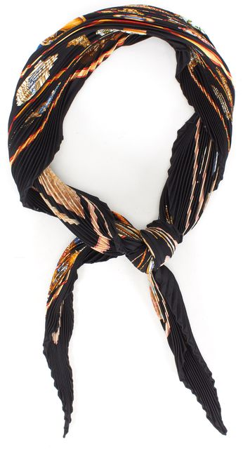 HERMÈS HERMÈS Black Qu'Importe la Flacon Pleated Silk Scarf