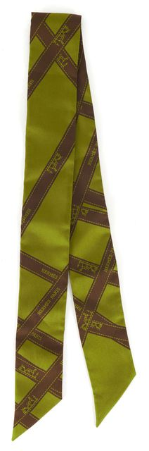 HERMÈS HERMÈS Olive Green Brown 100% Silk Long Twilly Neck Scarf