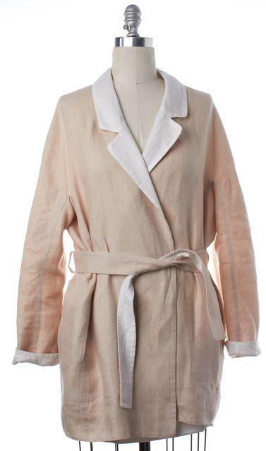 HERMÈS Beige Linen Belted Wrap Coat Jacket