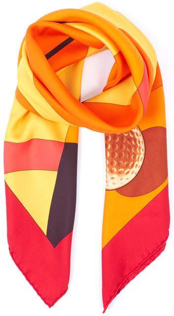 HERMÈS Red Orange Yellow Silk Swing II Large Square Scarf