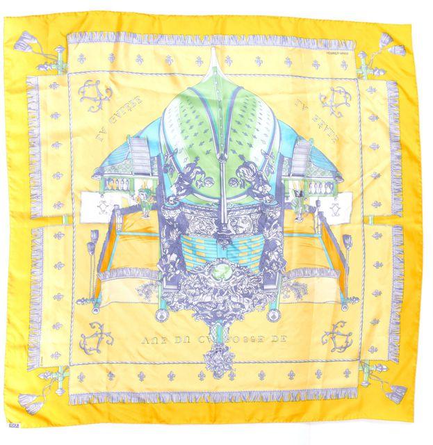HERMÈS Yellow Multi-color Vue Du Carosse de la Galere la Reale Silk Square Scarf