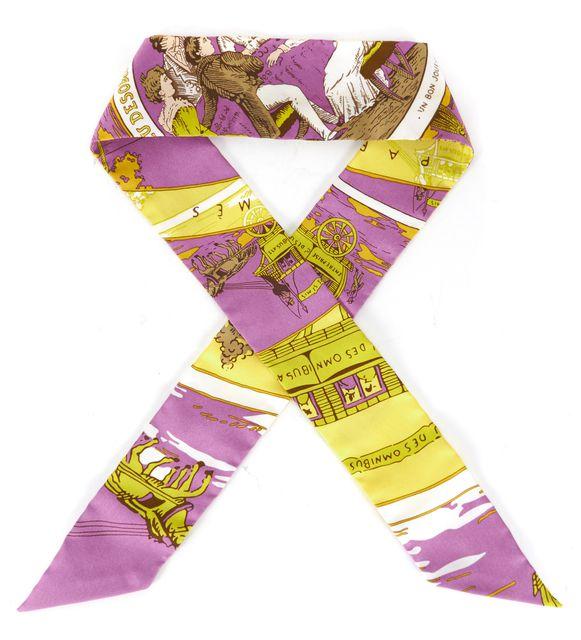 HERMÈS HERMÈS Violet Yellow 100% Silk Twilly Skinny Scarf