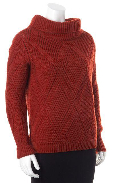 HERMÈS Burnt Orange Camel Hair Chunky Turtleneck Sweater