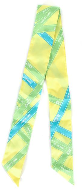 HERMÈS Yellow Blue Green Silk Twilly Skinny Scarf