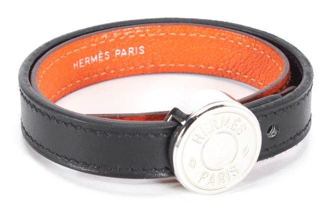HERMÈS Black Orange Leather Double Contrast Layered Bracelet