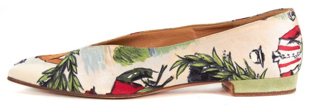 HERMÈS Vintage Ivory Equestrian Print Silk Suede Trim Flats