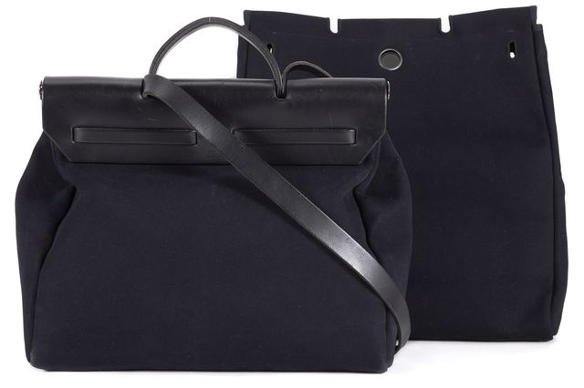 HERMÈS Black Canvas Herbag Toile GM Satchel Shoulder Bag Set