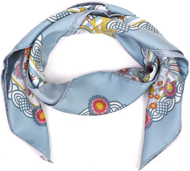HERMÈS Blue Red Yellow Floral Silk Decoupages Scarf