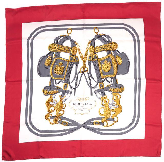 HERMÈS Red Black Ivory Gray Gold Silk Brides de Gala Scarf