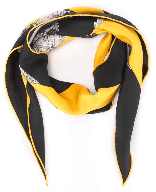 HERMÈS Yellow Black Gray Printed Silk Regarde Paris Scarf