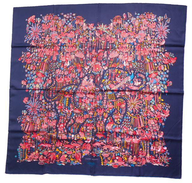 HERMÈS Blue Pink Multi Animal Floral Printed Legende Moghole Large Square Scarf