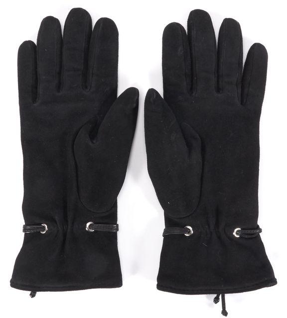 HERMÈS Black Suede Cashmere Lined Winter Gloves