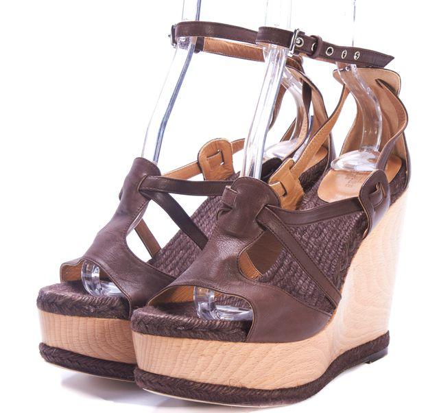 HERMÈS Brown Leather Wooden Platforms Wedges