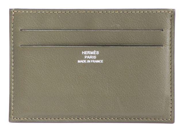 HERMÈS ARMY Green Leather 4 Card ID Holder Card Case