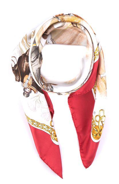 HERMÈS Red Horse Print Silk Carre Les Robes Ledoux Scarf