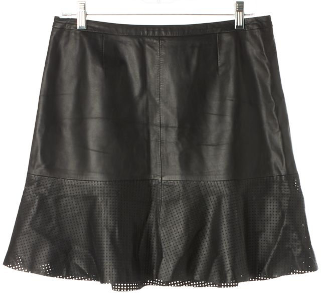 HUGO HUGO BOSS Black Perforated Leather Above Knee A-Line Skirt