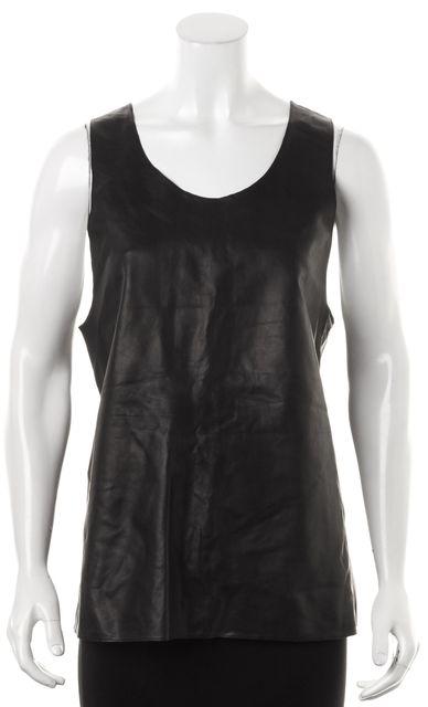 HUGO HUGO BOSS Black 100% Leather Tank Blouse