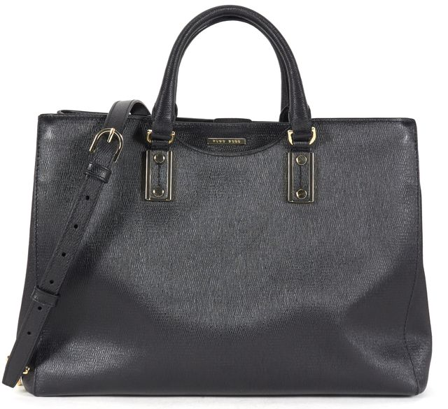 HUGO HUGO BOSS Black Leather Malia Satchel Shopper Tote