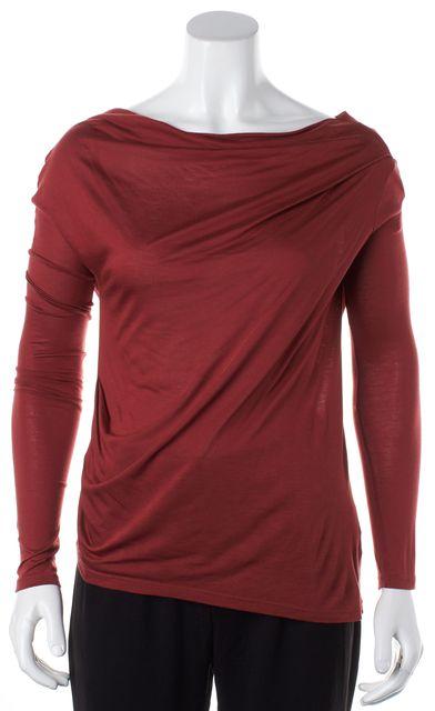 HELMUT HELMUT LANG Brick Red Draped Boat Neck Long Sleeve Basic T-Shirt