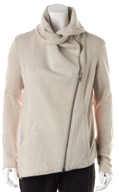 HELMUT HELMUT LANG Light Beige Diagonal Zip Sweatshirt Jacket