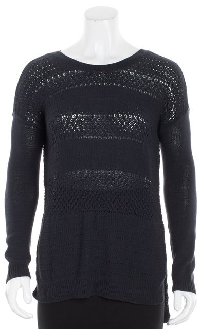 HELMUT HELMUT LANG Navy Blue Semi-Sheer Knitted Crewneck Sweater
