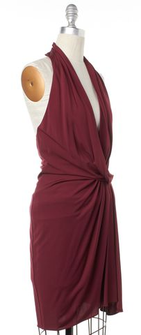 HAUTE HIPPIE Burgundy Red Draped Halter Dress