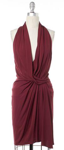 HAUTE HIPPIE Burgundy Red Draped Halter Dress Size XS