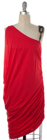 HAUTE HIPPIE Red Embellished Sleeveless Sheath Dress