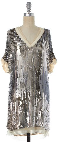 HAUTE HIPPIE Silver Sequin Silk Shift Dress